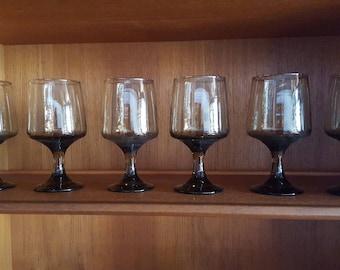 Set of 6 Libbey Smokey Brown Grey Wine Glasses - Vintage Mid-century Wine Glass - Modern Stemware Tawny Smoke Gobelts  Retro Bar Glassware