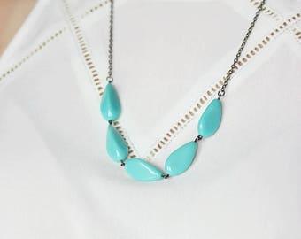 Blue Beaded Necklace Blue Gunmetal Necklace Silver Blue Necklace Beaded Statement Necklace Everyday Modern Necklace Silver Aqua Necklace