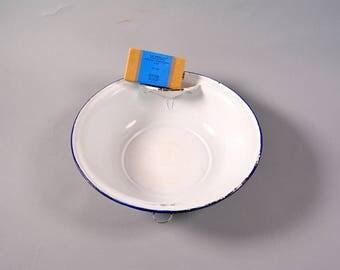 Vintage Enamel Wash Basin, Blue and White Enamel, Wash Bowl, Rustic Wash Tub, White Enamelware Bowl, Farmhouse Bowl, Primitive Wash Basin