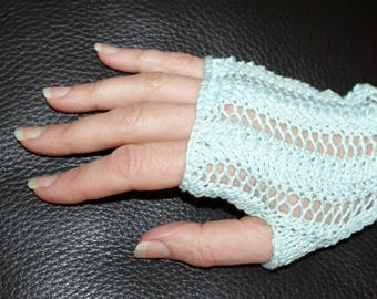 Fingerless gloves women, short, cotton green Egypt of water