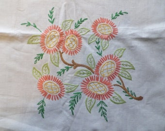 Vintage 1940's Embroidered Linen Tablecloth