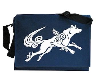 ON SALE Okami Wolf Tribute Navy Blue Messenger Shoulder Bag