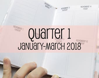 Traveler's Notebook POCKET Size Week on Two Pages in VERTICAL Layout {Q1 | January-March 2018} #600-31