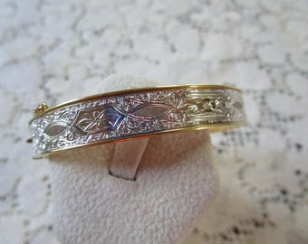 Vintage Silver and Gold Tone Embossed Bangle