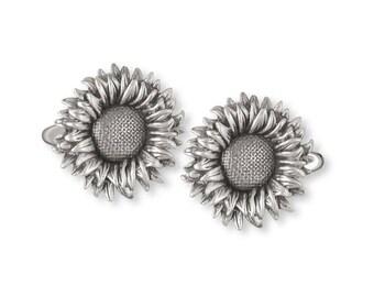 Sunflower Cufflinks Jewelry Sterling Silver Handmade Flower Cufflinks SF3-CL