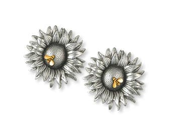 Sunflower Cufflinks Jewelry Silver And Gold Handmade Flower Cufflinks SF2-TNCL