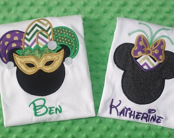 Mardi Gras Mickey or Minnie Appliqued Shirt