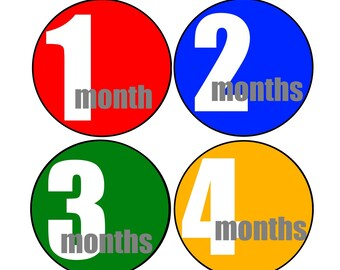 Baby Boy Month Stickers, Month by Month Baby Milestones, New Baby Gift, Bodysuit Stickers, Watch Me Grow,  Primary Colors, Baby Shower Gift