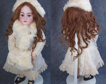 Antique French Market SH 1079 DEP  Bebe Jumeau chunky wood compo body Bte  S.G.D.G. Depose pull string talker white fur muff bonnet wrap 26""