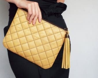 Leather clutch bag yellow. Evening clutch purse. Quilted leather clutch handbag.