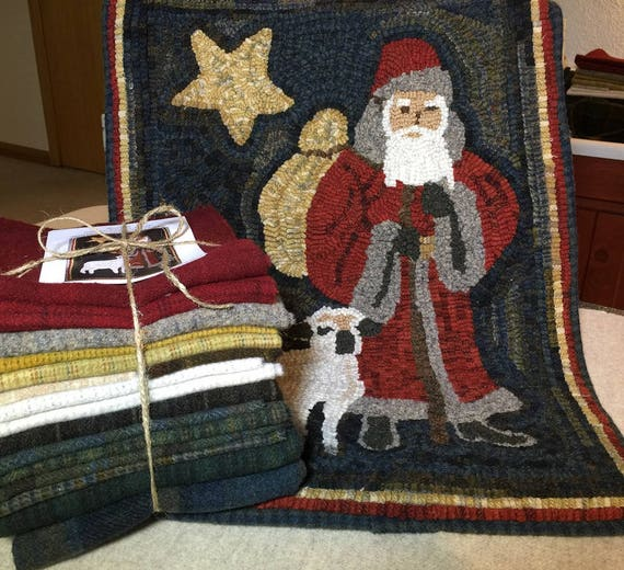 "Wool Pack for Christmas Shepherd Hooked Rug, 16"" x 24"" WP108"