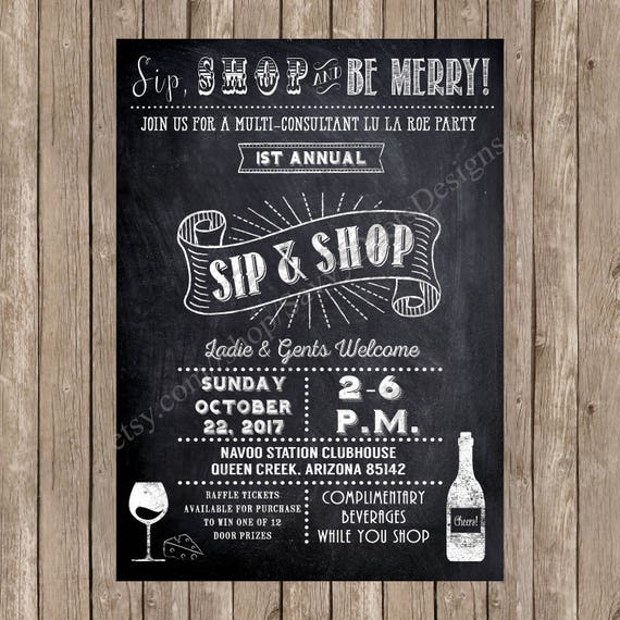 Sip and shop invitation printable chalkboard wine party like this item stopboris Image collections