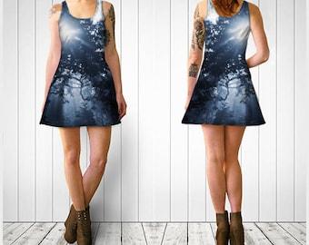 Flare Dress, Skater Dress, Teen Clothing, Ethereal dress, Reversible dress, Blue Flare Dress, Tree Skater Dress, Spandex Mini Dress