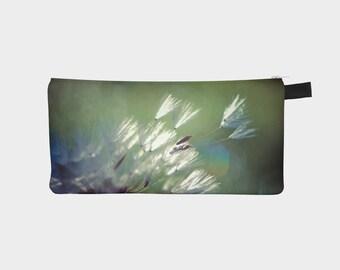 Dandelion Pencil Case, Flower Make up Bag, Small Cosmetics Bag, Small Zipper Pouch, Floral Pencil Case, Pencil Holder, Fabric Pencil Bag
