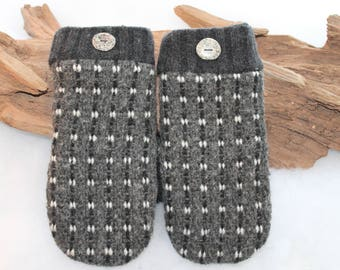 Men's wool sweater mittens lined with fleece with Lake Superior rock buttons in black, gray, and white, Christmas, male coworker gift