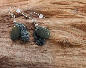 Lake Superior rock and sterling silver earrings, beach stone earrings, dangle earrings, Christmas gift, coworker gift, stocking stuffer
