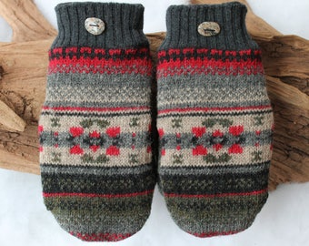 Wool sweater mittens lined with fleece with Lake Superior rock buttons in gray, tan, green, red, and black, Valentines Day, beach stones