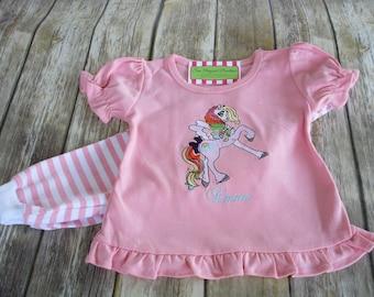 Girl Horse Pajamas-Personalized Girls Pajamas-Monogrammed Pajamas-Girls Pajamas-Baby Girl Pajamas-Cowgirl Shirt, Horse Shirt, Unicorn Shirt