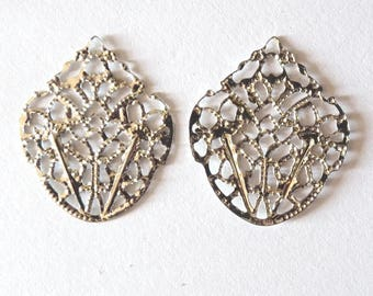 10 connectors filigree openwork for jewelry making Silver Pendant