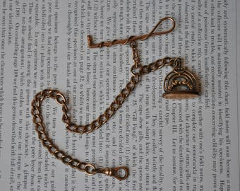 Antique Rose Gold Filled Watch Fob - 1900s Horse Whip Charm, Monogrammed Fob