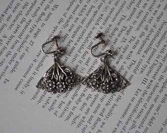 Vintage Sterling Earrings 1940s Art Nouveau Style Sterling Screw Back Earrings