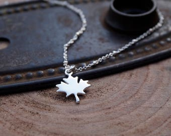 Silver Maple Leaf Necklace / Sterling Silver Maple Leaf Necklace / Sterling Silver Leaf Necklace / Maple Leaf Necklace / MapleLeafForever