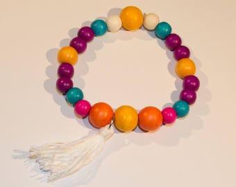 Bracelet multicolored wood beads, Fuchsia, orange, turquoise and white