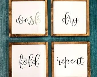 Wash, Dry, Fold, Repeat / Farmhouse style / Rustic / Modern Farm / Wash Dry Fold Repeat