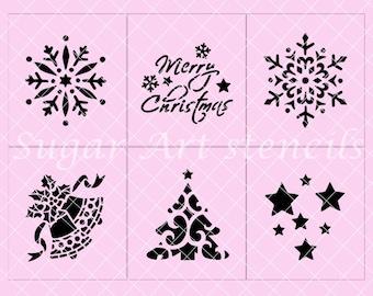 Merry Christmas stencils Holidays Noel cupcake stencils set of 6  SL20167
