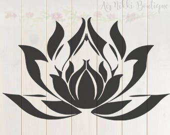 Lotus Flower SVG, PNG, DXF files, instant download