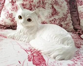 Cat, Homco, white life size cat figurine, kitty, Persian, yellow eyes, Home Interior Cat