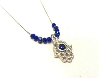 Silver hamsa necklace, Blue hamsa, Bat mitzva gift, Small hamsa, Hamsa pendant, Hamsa charm, Silver hamsa gift, Hamsa jewelry, Blue charm