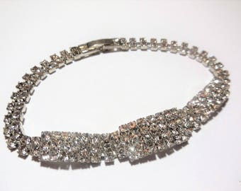Rhinestone Bracelet Silver Tone Metal Bridal Special Occasion Evening Sparkly Vintage Costume Jewelry Wedding Fashion Accessories