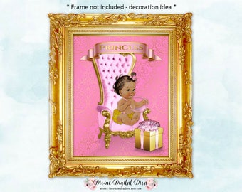 Pink & Gold 8 x 10 Display Sign   African American Medium Tone Vintage Baby Girl Chair   Digital Instant Download