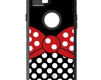 CUSTOM OtterBox Defender Case for Apple iPhone 6 6S 7 8 PLUS X 10 - Personalized Monogram - Red White Polka Dot Bow / Black White Polka Dots