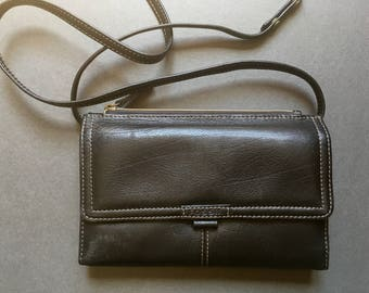 Vintage FOSSIL Genuine Leather Brown Shoulder Bag, Wallet, Clutch, removable Strap