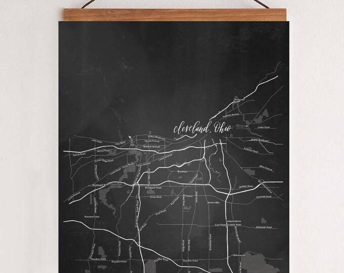 Black and White Map of Cleveland, Ohio