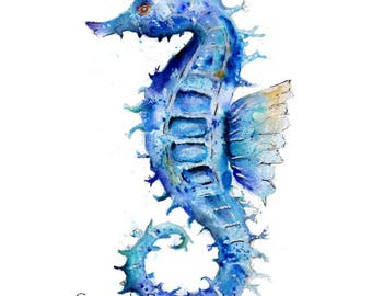 SEAHORSE, fine art, Giclee Watercolour Painting Print A4 (297mm x 210mm). Archival quality inks
