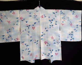 HAORI JAPANESE SILK Vintage Japanese Kimono Jacket Flower Branch Very Pale Blue Silk Vintage Japanese Silk Haori Blue Floral Kimono Jacket