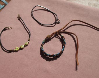 Lot Of Retro Rope Braided Leather Anklets Peace Sign Pony Tail Holder