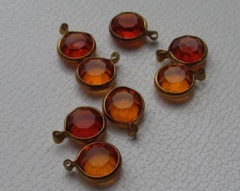 Lot Of Salvaged Topaz Colored Acrylic Cabochon Dangles
