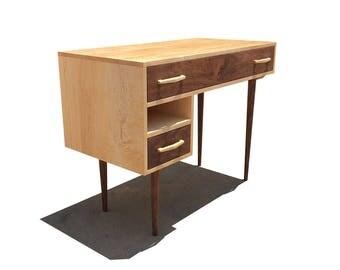 Mid Century Modern Desk, Maple Desk With Walnut Drawers