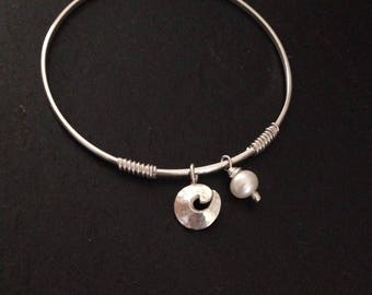 Sterling Silver Wave and Pearl Charm Bangle