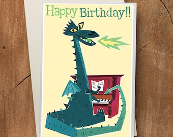 Dragon Birthday Card , Piano Birthday Card, Pianist Card, Dragon Art