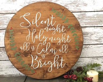 Silent Night | Christmas Sign | All is Calm all is Bright | Rustic Christmas Decor | Christmas Decor | Silent Night Sign