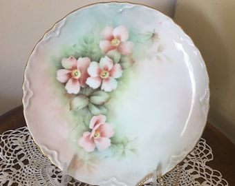 Vintage Handpainted Dessert Plate with Pink Wild Roses