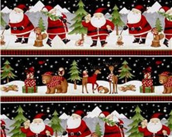 Santa and Friends by Debbie Mum for Wilmington Prints, Whimsical Christmas Scene, 67543