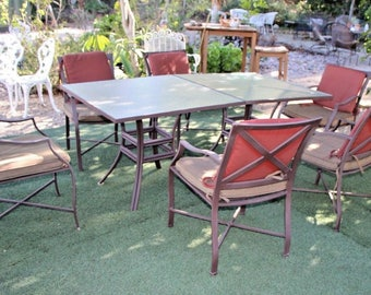 Vintage Cast Aluminum EIght piece Two Glass Top Table Patio Set 6 arm chairs Nationwide shipping available call for best rates