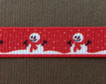 "Sale!!! Snowman on 3/8"" Red Christmas/Holiday Ribbon - 3 Yards"