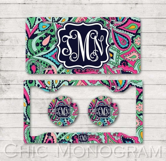 Monogrammed License Plate Car Coasters License Plate Frame Custom Monogrammed Car Tag Cup Holder Coasters Lilly Inspired Paisley Jewels Set